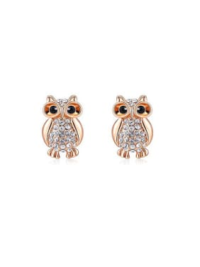 Lovely Owl Shaped Austria Crystal Stud Earrings