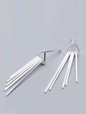 925 Sterling Silver With Silver Plated Simplistic Hollow Triangle Tassels Stud Earrings