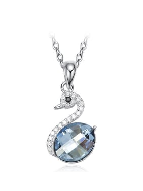 Fashion Oval Swarovski Crystal-accented Swan Pendant 925 Silver Necklace