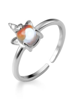 925 Sterling Silver With Resin Cute Garden elf Free Size  Rings