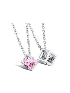 Fashion Hollow Cube Zircon Titanium Lovers Necklace