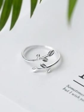 Sterling Silver Small fresh olive branch free size ring