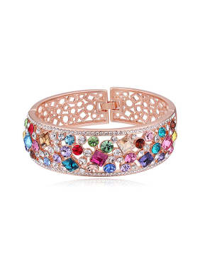 Fashion Shiny Colorful Swarovski Crystals Hollow Alloy Bangle