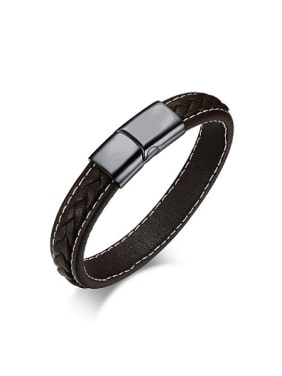 Men Fashionable Black Artificial Leather Titanium Bracelet