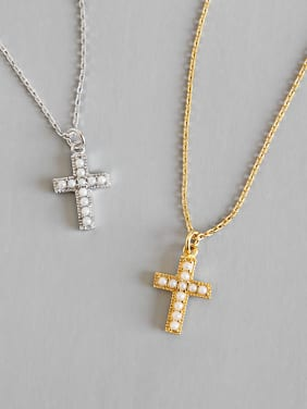 925 Sterling Silver With 18k Gold Plated Delicate Cross Necklaces