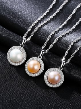Sterling Silver with AAA zircon 9-9.5mm natural freshwater pearl necklace