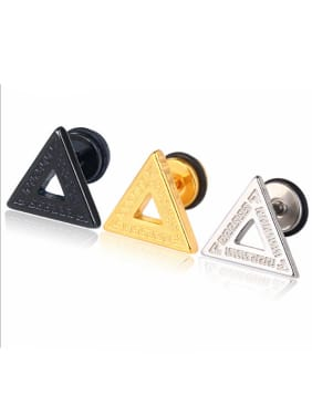 Stainless Steel With Black Gun Plated Simplistic Triangle Stud Earrings
