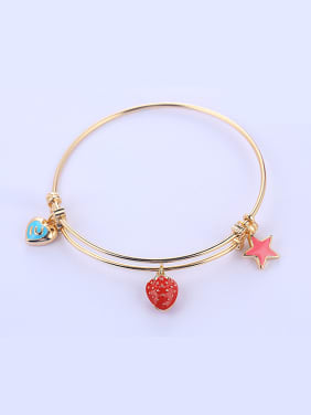 Copper Alloy 18K Gold Plated Fashion Enamel Paint Bangle