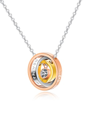 Stainless Steel With Rose Gold Plated Fashion Three rings interlocking Necklaces
