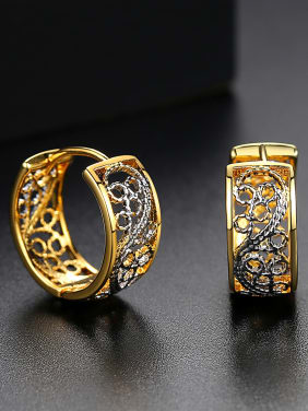 Classic two-color plating hollow pattern earrings