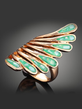 Personalized Green Shell Feather Gold Plated Alloy Ring