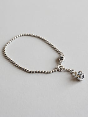 925 Sterling Silver With Antique Silver Plated Personality Crown Beads Bracelets