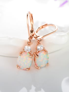 925 Sterling Silver With Rose Gold Plated Personality Oval Hook Earrings