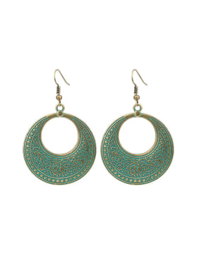 Retro style Exaggerated Antique Bronze Plated Round Drop Earrings