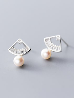 925 Sterling Silver With Artificial Pearl Simplistic Irregular Stud Earrings