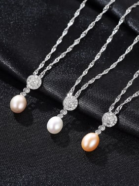 Sterling Silver AAA zircon 7-8mm natural freshwater pearl necklace