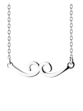 925 Sterling Silver With Platinum Plated Simplistic Note Pendant Necklaces