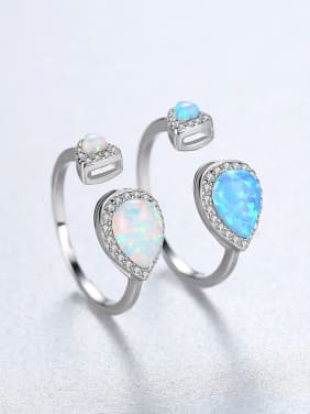 925 Sterling Silver With Personality Water Drop Free size Rings