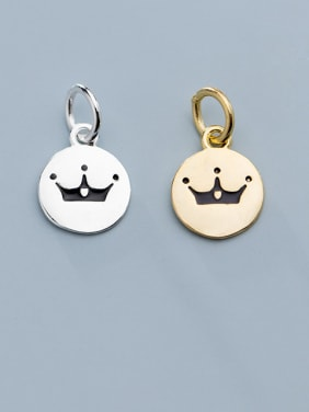 925 Sterling Silver With  Enamel Simplistic Crown  Round Pendants