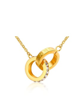 Women Fashionable Gold Plated Double Round Rhinestone Necklace