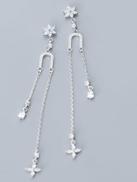 925 Sterling Silver With Platinum Plated Fashion Flower Drop Earrings
