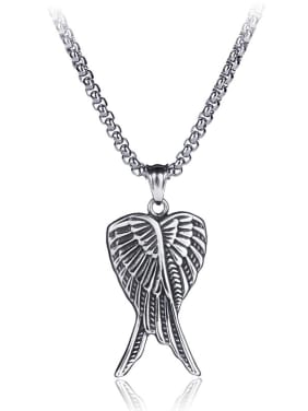 Stainless Steel With Antique Silver Plated Trendy wing Necklaces