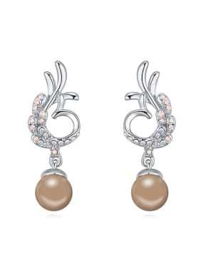 Fashion Imitation Pearls Tiny Cubic Crystals Alloy Stud Earrings