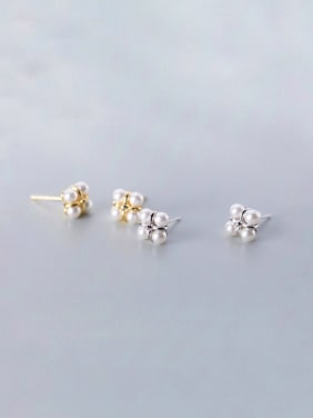 925 Sterling Silver With Silver Plated Simplistic Clover Bee-joo Stud Earrings
