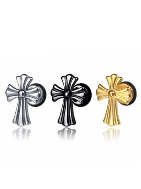 Stainless Steel With Gold Plated Trendy Cross Clip On Earrings