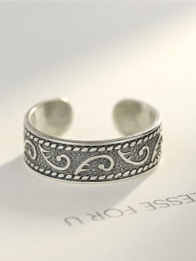 Sterling silver retro thai silver carved flower opening ring