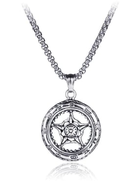 Stainless Steel With Antique Silver Plated Vintage Round anchor Necklaces