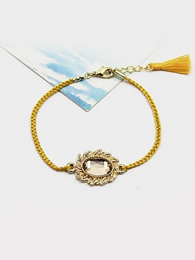 Exquisite Oval Shaped Glass Tassel Bracelet