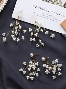 Alloy With Gold Plated  Imitation Pearl Bohemia Flower Earrings