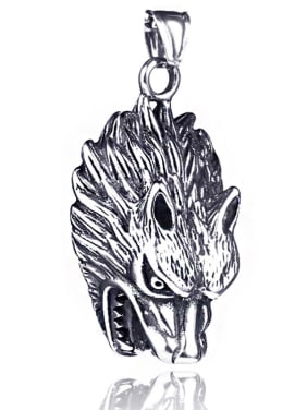 Stainless Steel With Antique Silver Plated Personality head of a wolf Necklaces