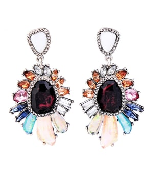 Colorful Artificial Stones Flowers-shape Fashion Drop Earrings