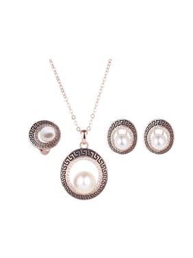 Alloy Rose Gold Plated Fashion Artificial Pearl Hollow Circle Three Pieces Jewelry Set