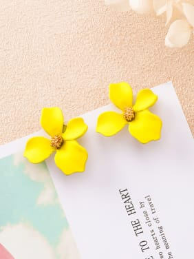 Alloy With 18k Gold Plated Trendy Flower Earring Jackets