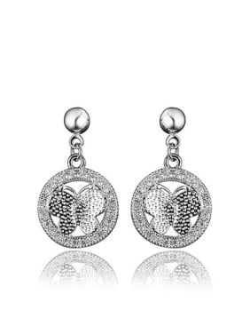 Exquisite Butterfly Shaped Platinum Plated Drop Earrings