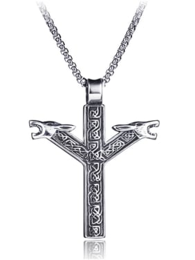 Stainless Steel With Antique Silver Plated Trendy Cross  head of a wolf Necklaces