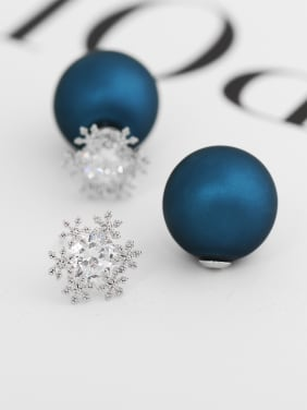 Copper With White Gold Plated Trendy Ball Party Stud Earrings