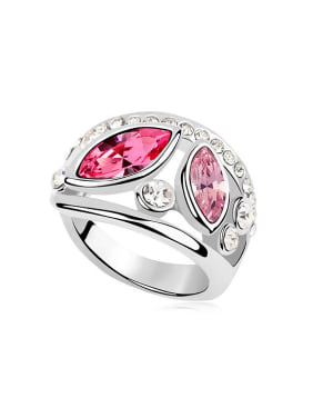 Exaggerated Marquise Cubic Swarovski Crystals Alloy Ring