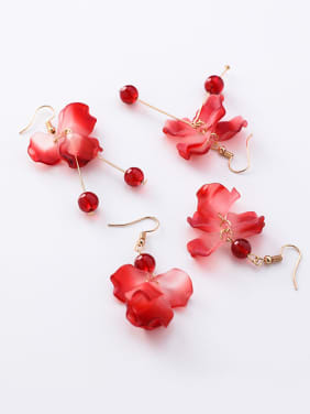 Alloy With Rose Gold Plated Fashion Colorful multi-layered petals Hook Earrings