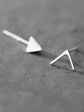 925 Sterling Silver With Platinum Plated Simplistic  Asymmetry Triangle Stud Earrings