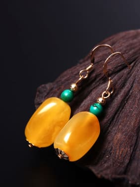 Natural  Yellow Beeswax Hook Earrings