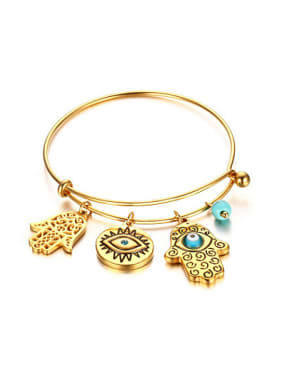 Personality Palm Shaped Turquoise Gold Plated Titanium Bangle