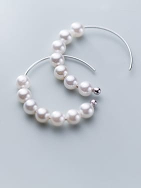 925 Sterling Silver With Artificial Pearl Trendy Charm Hoop Earrings