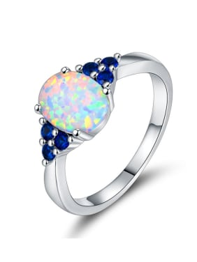 Copper inlay color zirconium opal vintage ring