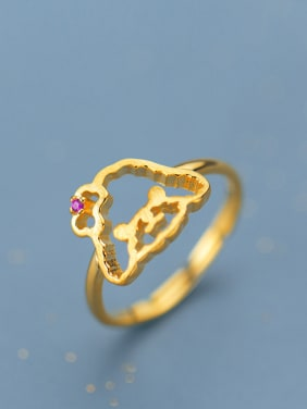 Lovely Gold Plated Dog Shaped Rhinestone 925 Silver Ring