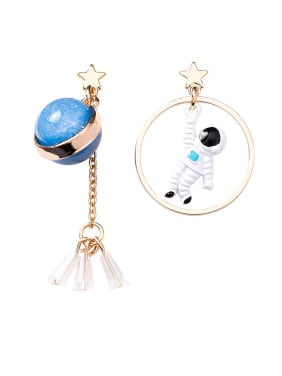 Alloy With Rose Gold Plated Cute Astronaut Asymmetry Planet Moon Drop Earrings