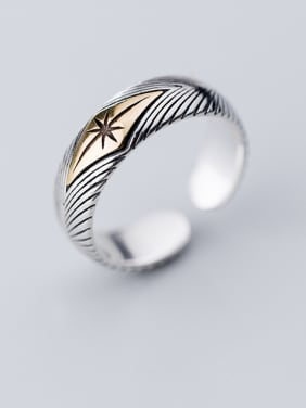 925 Sterling Silver With Antique Silver Plated Vintage Fringe veins free size  Rings